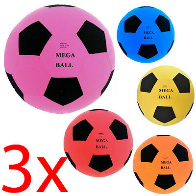 Set Of 3 Giant 55Cm Inflatable Fabric Covered Mega Ball Beach Garden Football