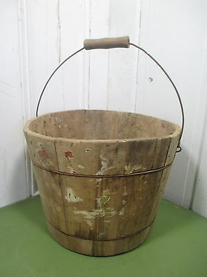 Vintage Wood Bucket w/ Swing Handle - Table Centerpiece, Porch, Wedding Accent
