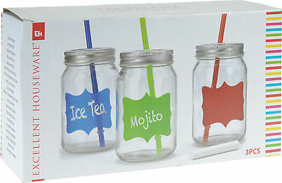 3 X 450ML Clear Glass Jam Jar Drinking Cocktail Summer Glass With Straw and Lid