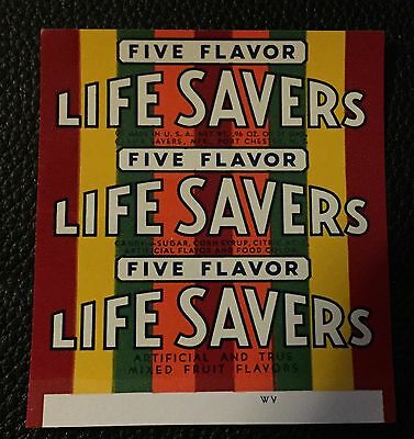 Rare 1960's Life Savers Five Flavor Candy Wrapper Original Unused