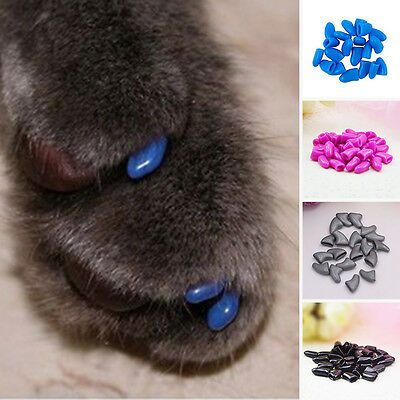 20Pcs/set  Silicone Pet Dog Cat Kitten Paw Claw Control Nail Caps Cover UK