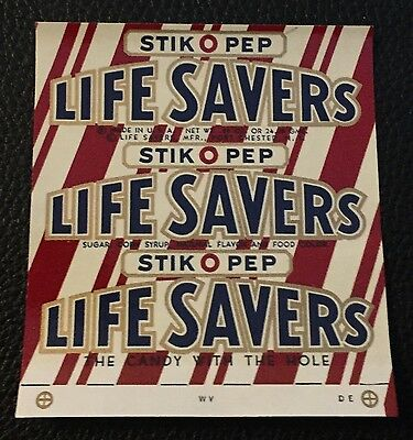 Rare 1960's Life Savers Stick-0-Pep Candy Wrapper Original Unused