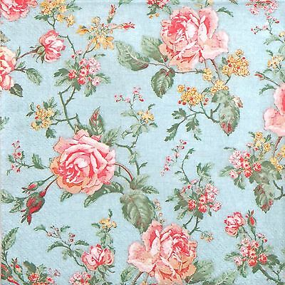 4x Single Paper Napkins -English Style Roses- for Party Decoupage Craft