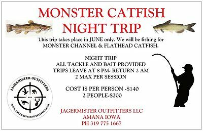 Iowa Guided Monster Flathead & Channel Catfish Trip 2 People-Night Time Fishing