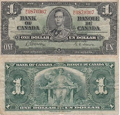 Canada-Bank of Canada, 1 Dollar Banknote 1937 Fine Condition Cat#58-D-0367