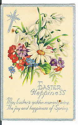 POSTCARD EASTER HAPPINESS WITH FLOWERS 1945 Dursley  Gloucestershire