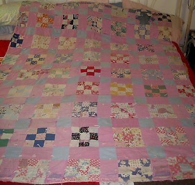 "VTG Purple 9 Patch/Crazy Hand Sewn/Stitched CUTTER/Crafts Quilt 80"" X 61"""