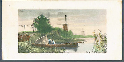 A Netherlands Greeting Card With Windmill And Men On A Barge C 1930's