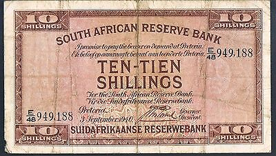 South Africa Banknote 10 P82D  03.09.1940 F