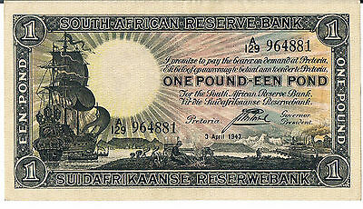 SOUTH AFRICA BANKNOTE 1 P84e  03.04.1943 AU