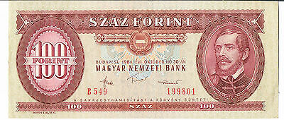 HUNGARY BANKNOTE 100 P171g 1984 EF