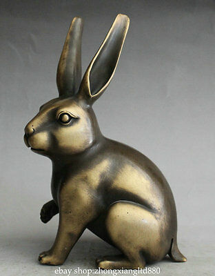 "6.6"" Antique China Copper Fengshui 12 Zodiac Year Animal Rabbit Statue Sculpture"