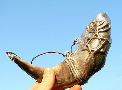 MESSIANIC SILVER SHOFAR for ANOINTING OIL+GIFT Bottle Hebraic Jewish Hebrew Root