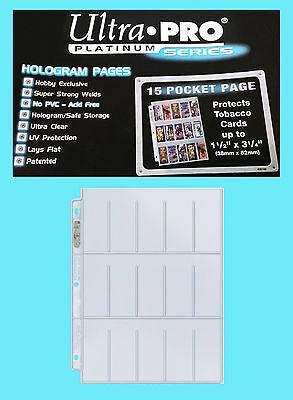 10 ULTRA PRO PLATINUM 15 POCKET Tobacco Card Pages 1.5x3.25 Sheets Protectors