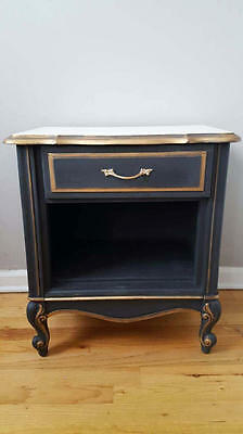 Hollywood Glam Hand Painted French Provincial Nightstand End Side Table