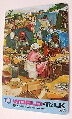 World Talk Phone Card, Art by Anthony Wilson 1993 Vintage Collectible      (G)