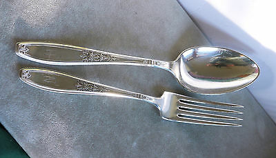 Large 1847 Rogers silver plate serving fork and spoon, Ambassador pattern