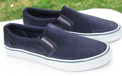 FADED GLORY Navy Blue Canvas Slip-on Loafers Boat Deck Shoes Size 9.5