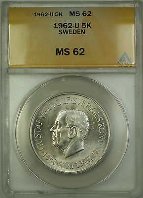 1962-U Sweden Silver 5 Kroner ANACS MS-62 (Better Coin)