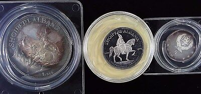 1968 Albania Silver Proof 3 Coin Set- Very Rare - Unreal Rainbow Toning!