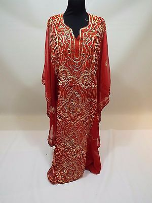 Women red gold embroidered Indian dress kuftan caftan abaya gown free size
