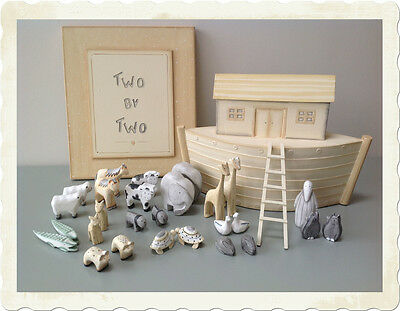 East Of India Large Wooden Hand Carved Noahs Ark Two by Two Boxed Gift Set Baby