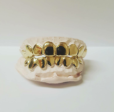 CUSTOM GRILLZ 6 PCS TOP OR BOTTOM - 10k Yellow , White or Rose Gold ( REAL GOLD)