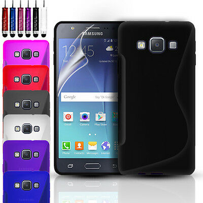 S-Line Silicone Gel Case Cover & Screen Protector for Samsung Galaxy J5 (2015)