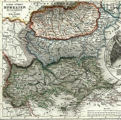 Romania Bulgaria Walachia Transylvania Istanbul Constantinople 1849 antique map