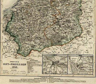 East Prussia Konigsberg Memel Germany Poland 1849 Meyer detailed antique map