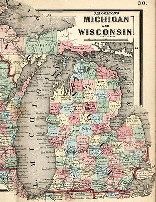 Michigan Upper Peninsula Wisconsin Great Lakes 1865 Colton scarce antique map