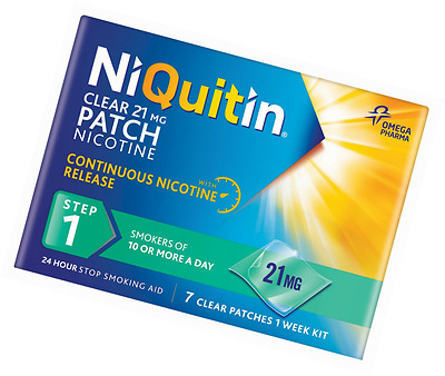 NiQuitin 21mg Clear 24 Hour 7 Patches Step 1 - 7 Patches Per Pack FREE DELIVERY