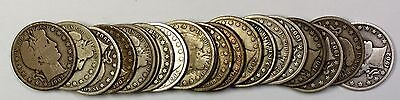 1908-O Barber Half Dollar 50c Roll 20 Circulated 90% Old Silver Coins Lot
