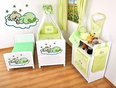 NEW WHITE 2in1 COT-BED 120 x 60 WITH A 3-PIECE BEDDING no 13