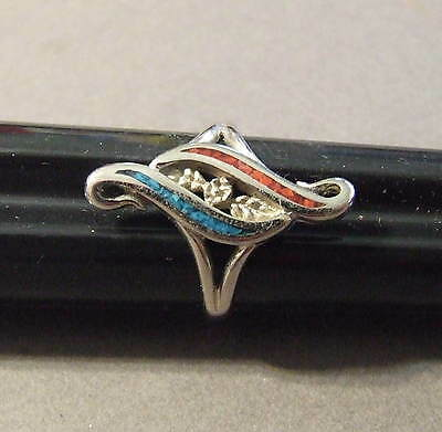 Vintage Silvertone  Cop Signed Turquoise And Coral Chip Inlaid Ring Sz 8 (R 72 )