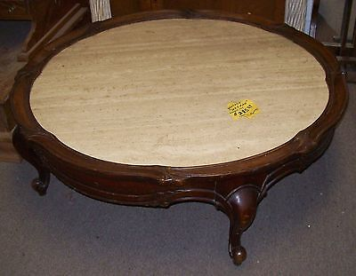 Vintage Weiman Round Marble Top Mahogany Coffee Table