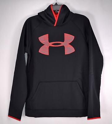 Youth Boy's, Under Armour,Fleece Storm Highlight,Pull over Hoodie, Black/Red