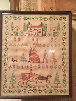 Antique Embroidered Cross Stitch Needlepoint Country Sampler Framed