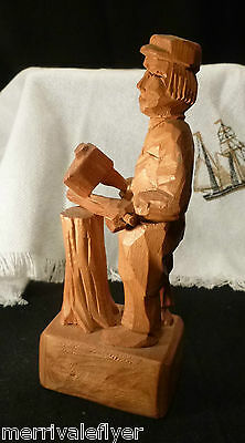 Antique Carved Wood WOODCUTTER WHITTLING Woodcarving Sculpture Signed FOLK ART