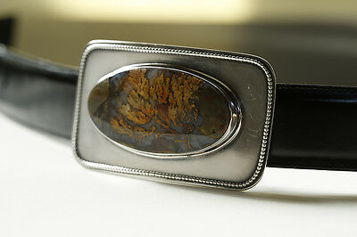 Silver Belt Buckle With Geode