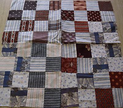 4 1870-80's Postage Stamp/16 Patch quilt blocks, beautiful madder red/browns