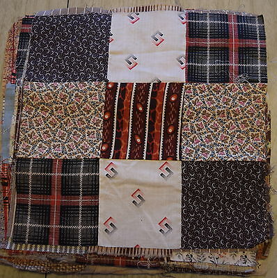 36 1870-80's 9 Patch quilt blocks, fabulous collection of fabrics!