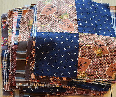43 1870-80's 4 Patch quilt blocks-lots of fabulous prints, madders