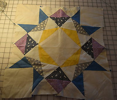 1 large 1920-30's Star quilt block, nice prints and colors!