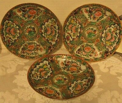 """Lot of 3 19th CENTURY CHINESE FAMILLE ROSE PORCELAIN SAUCER/PLATES 5 1/2"""" diam."""