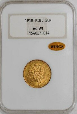 1910 Finland Gold 20M MS65 NGC ~ WINGS