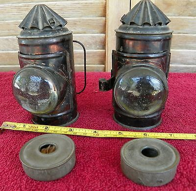 Vintage Pair 5inch Early Boat Ship Nautical Railroad Police Signal Lamp Lantern