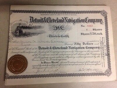 Detroit And Cleveland Navigation Company Stock Certificates- 46 Old Style Cert.