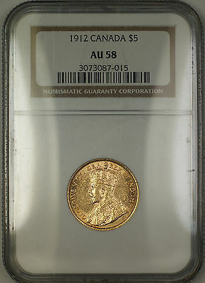 1912 Canada $5 Five Dollar Gold Coin NGC AU-58