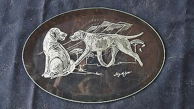 Rhodesian Ridgeback-  Hand Engraved Glass Bevel in wood stand by Ingrid Jonsson